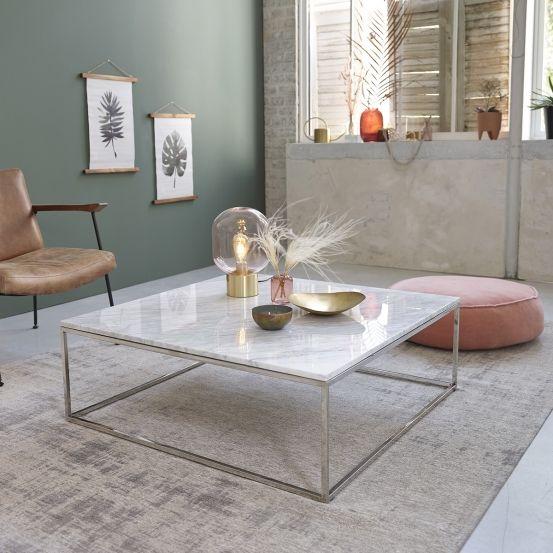 Table Basse Carree En Marbre Blanc Et Metal 100 Mobilier De Salon Bdbd Table Basse Table Basse Marbre Table Basse Carree