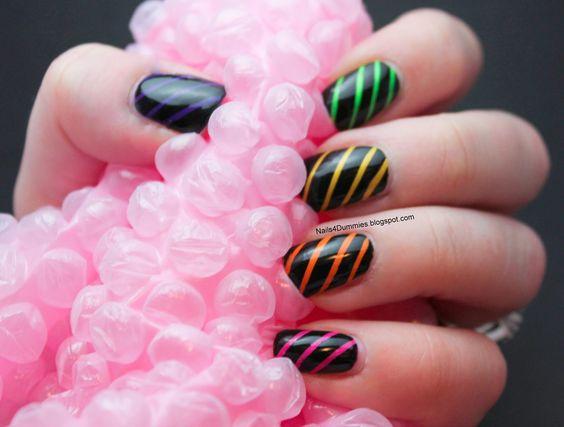 Nails4Dummies - Neon Stripes Tape Nails