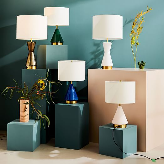 Metalized Glass Table Lamp Usb Small Landscape Blue West Elm Table Lamp Glass Table Lamp Glass Table