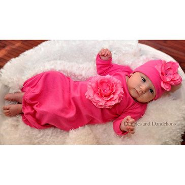 This was Londyn's 'coming home from the hospital' outfit!  Fuchsia Flower Sack & Beanie Set