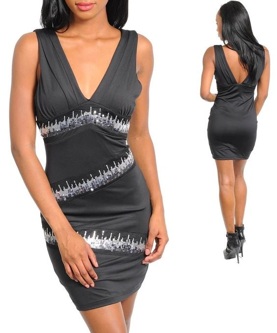 party dress sequin cocktail sequins black silver new size 2, 4, 6