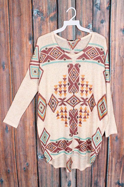 Oatmeal Aztec Tribal Shirt   The Texas Cowgirl