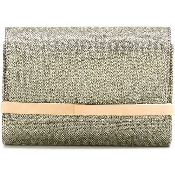 Jimmy Choo 'Bow' clutch ($860) ❤ liked on Polyvore featuring bags, handbags, clutches, metallic, jimmy choo clutches, metallic clutches, glitter purse, metallic handbags and glitter handbags