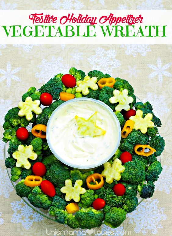 Festive Holiday Appetizer Vegetable Wreath Holiday