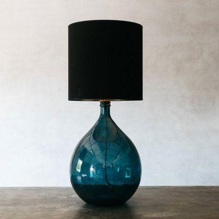 Round Glass Extra Large Blue Lamp Lighting Graham Green Blue Glass Lamp Blue Lamp Glass Lamp Base