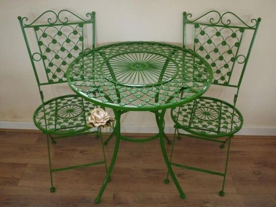 Green Wrought Iron Makeover Bistro Chair