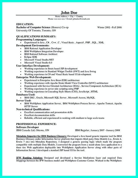 Resume Sql Server Developer Objective For Software Developer Resume Resume  Software Engineer Programmer  Software On Resume