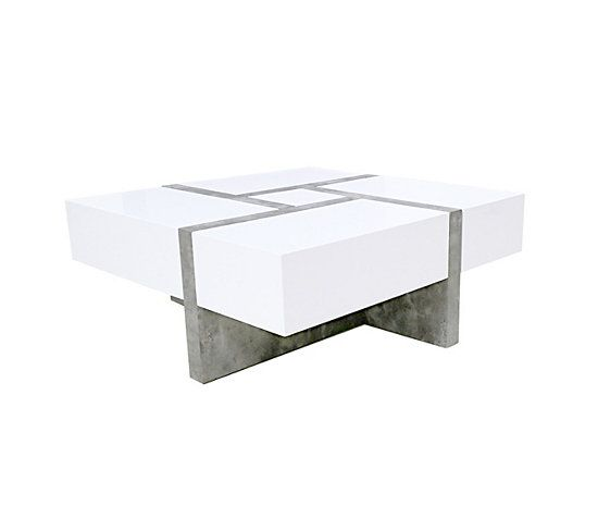 Table Basse Square Imitation Béton Et Blanc Table Basse