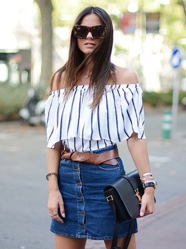 off the shoulder with belted denim. Zina in Madrid. #Fashionvibe: