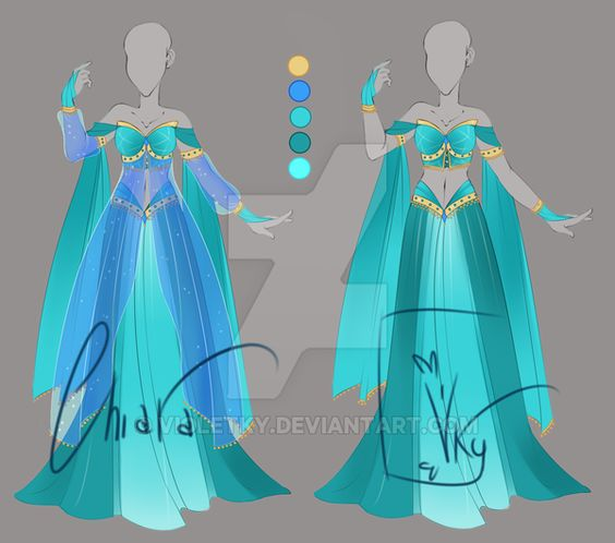 :: Adoptable Turquoise Outfit: AUCTION CLOSED:: by VioletKy on DeviantArt