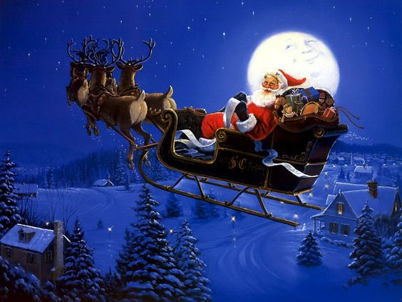 Christmas with Santa Claus and Reindeer Flying