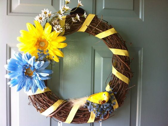 DIY wreath for Spring/Easter.  Creating it was easy - it was color-coordinating that took the longest!  :)