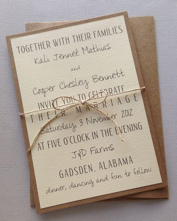 Simple Wedding Invitation Wording: Rustic Modern Wedding Invitations