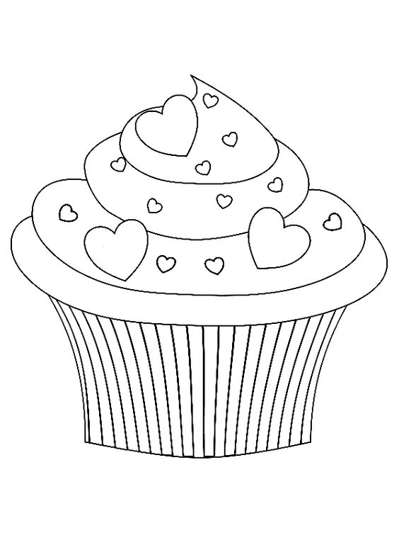 cupcake valentijn kleurplaat  coloring  Pinterest ...