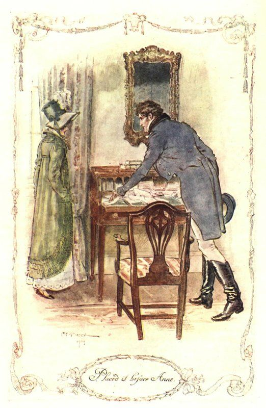 Illustration from Persuasion, Placed it Before Anne, his secret little love letter: