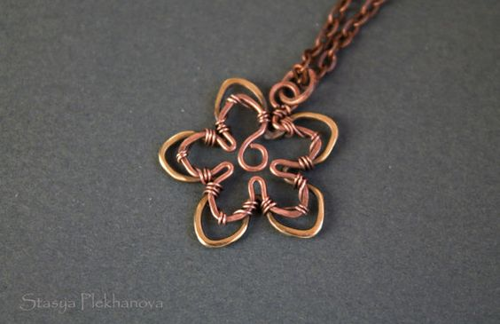 Flower pendant  Wire wrapped pendant  Copper by StasyaWireWrap, $20.00