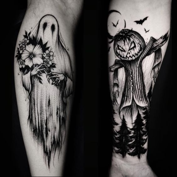 50 Halloween Tattoos For People Who Live To Explore The Scary Hike N Dip Halloween Tattoos Sleeve Scary Tattoos Halloween Tattoos