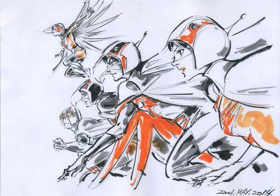 全員が駆け抜ける様子を描いた科学忍者隊ガッチャマンのかっこいい画像。