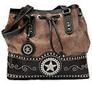 M® Nocona™ Ladies Brown and Faux Brindle with Star Concho Drawstring Handbag