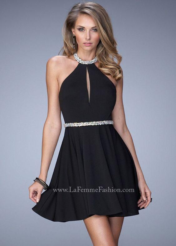 La Femme 22016 Black Halter Jersey Dress - Short Dresses - Little ...