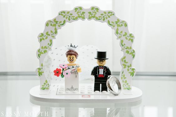 Ring Picture Lego Bride and Groom Geek Chic Wedding - CT Science Center - Sassy Mouth