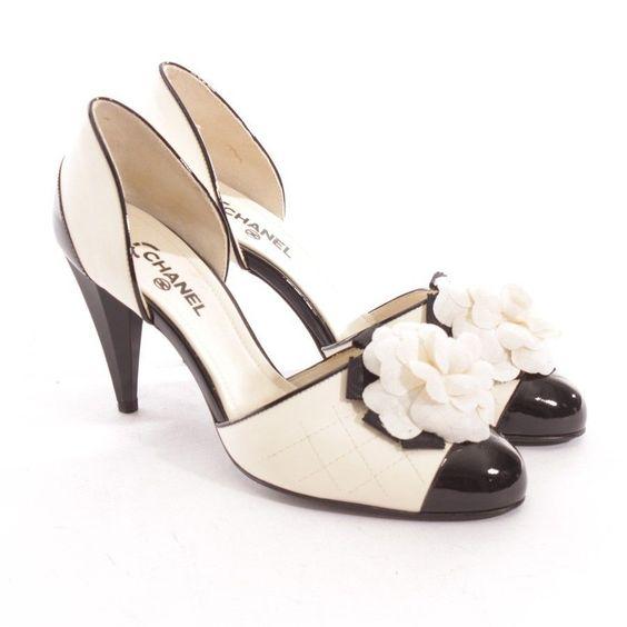 chanel pumps gr d 37 beige schwarz damen schuhe shoes high heels leder schuhschrank. Black Bedroom Furniture Sets. Home Design Ideas