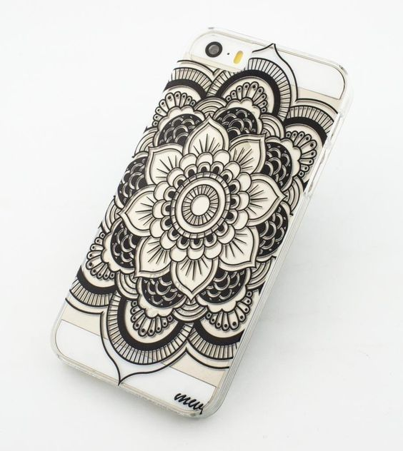 JIAXIUFEN Cuir Coque Strass Case Etui Coque étui de portefeuille protection Coque Case Cas Cuir Pour iPhone 5C -Henna Lotus Floral Elephant Hindu: Amazon.fr: High-tech
