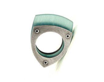 Cobre oxidado y Aqua resina anillo remachado  especular por mkwind