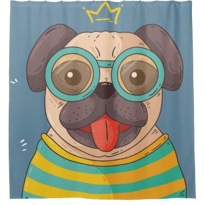 Lovely Smiley Happy Colorful Funny Puppy Shower Curtain Dog