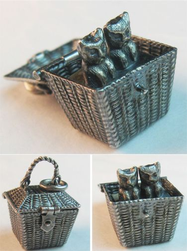Victorian Two Cats In A Basket Silver Charm ~ From The Estate of Joan Munkacsi: