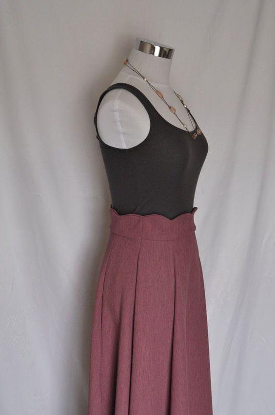 scalloped waist maxi skirt