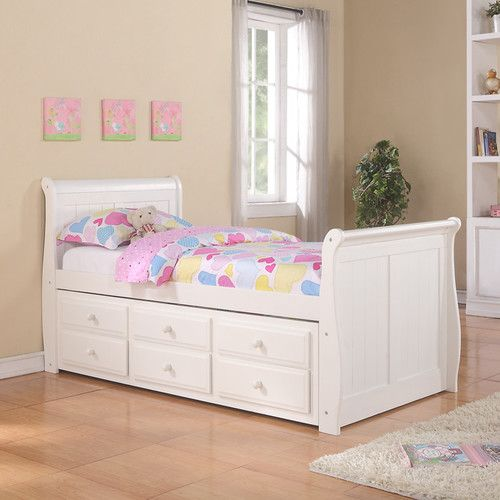 Donco Kids Donco Kids Sleigh Captain Bed with Trundle and Storage Drawers & Reviews | Wayfair