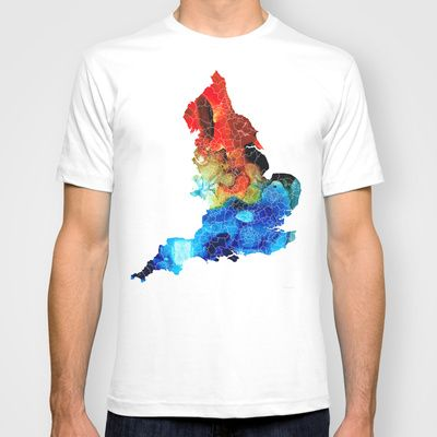 England - Map of England by Sharon Cummings T-shirt by Sharon Cummings - $22.00