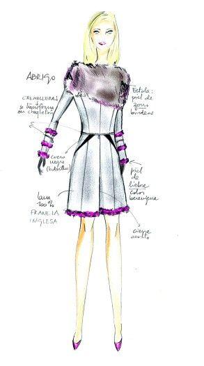 María Gondar. ITALIANO. Cappotto in lana grigia, maniche con tre bordi in pelliccie melanzana. ESPAÑOL. Abrigo gris con piel de liebre color berenjena en bajo y mangas, y detalles en cuero negro