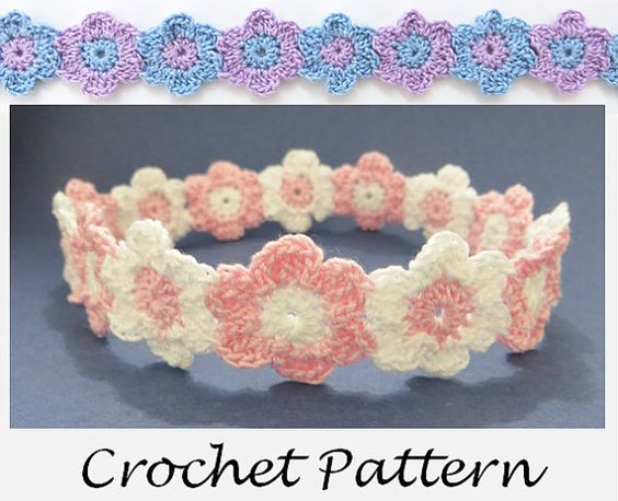 Crochet Pattern - Linked Flowers Headband - Sizes Preemie through ...