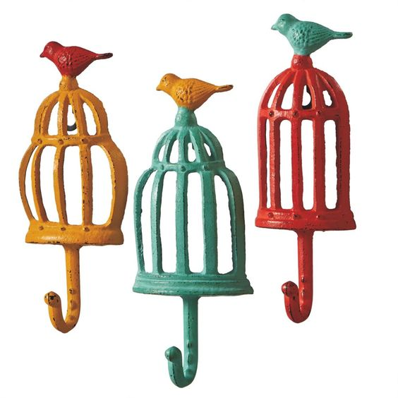 Colorful Bird Cage with Bird - Cast Iron Wall Hook Set 3 Pieces for Coats, Aprons, Hats, Towels, Pot Holders, More
