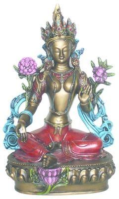 """Grønn+Tara+-+Sittende+Bestillingsnr:+12643Høyde+29+cm I+tibetansk+buddhisme+symboliserer+Tara+det+feminine+guddommelige+aspektet.+Som+en+hjelp+til+alle+levende+vesener+oppsto+Tara+i+følge+tradisjonen,+fra+Chenrizys+tårer,+da+han+brast+i+gråt+etter+å+ha+sett+all+lidelse+i+verden.+Den+grønne+Tara+står+også+for+opplyst+handling. I+Tibet+er+Tara+kjent+som+""""hun+som+frigjør""""+-+en+medfølende+Boddhisatva+som+frigør+fra+frykt+og+beskytter.+"""
