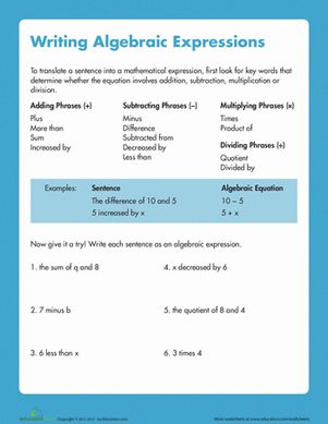 Printables Writing Algebraic Expressions Worksheets writing algebraic expressions fifth grade algebra and articles worksheet education com