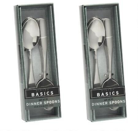 10-Piece Etched Lines Dinner Spoons Set of 2