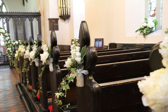Wedding Pew and Chair Flower Decorations and Bows