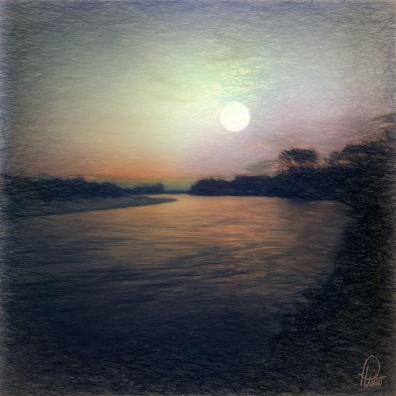 Full Moon - Upper Magdalena River - Colombia - Photography, 44x44 in ©2015 by Plinio Carvajal - Photography
