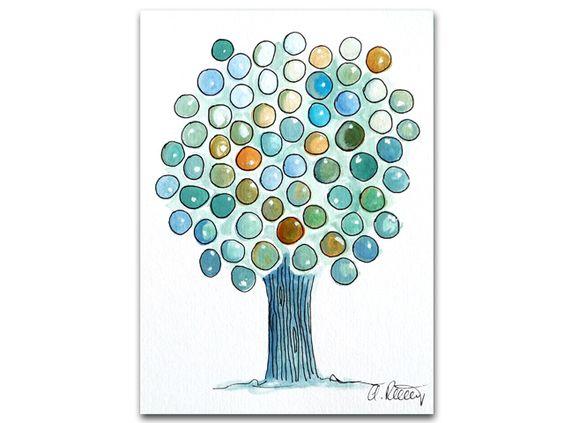 Illustrationen - Baum blau-grün, Original Illustration - ein Designerstück von Angelika-Rump bei DaWanda