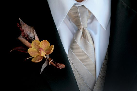 Orange Mokara Orchid and Copper Boutonniere by Blue Bouquet, www.bluebouquet.com