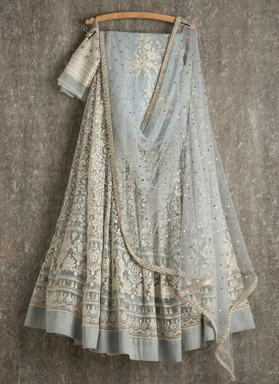 Ice Blue Lehenga And Dupatta With White Thread Work Perfect For An Indian Wedding Reception Dress