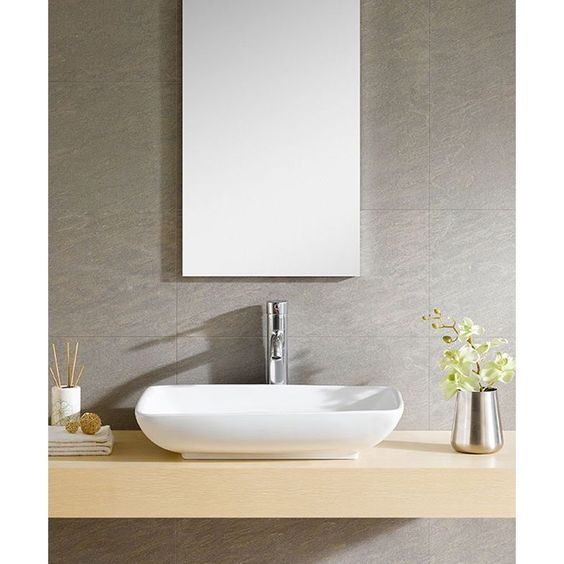 White sink shallow and sinks on pinterest - Shallow vessel sink ...