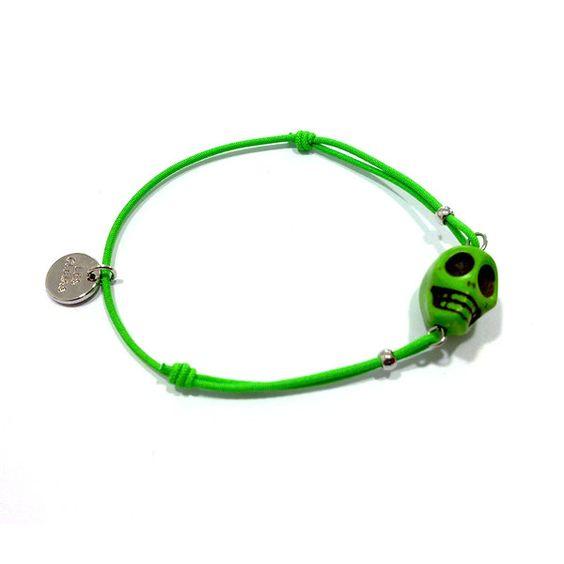 Pulsera Tête de mort élastique verde - Gnomo