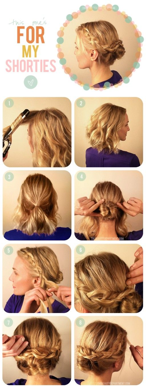 Short hair braid and bun - I do a similar style often during the week, but I think I'll fluff it up for bridesmaid hair.... ERIN