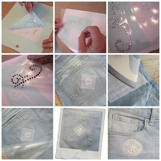 Rhinestone Embellishment with machine embroidery. Grandmother's Tablecloth inspired vintage machine embroidery.