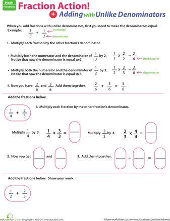 Adding Fractions Unlike Denominators 4th Grade - fractions ...