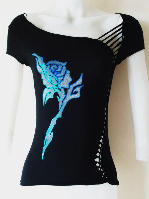 XLARGE Womens/Junior Custom Cut Shirt Black por LasciviousGrace